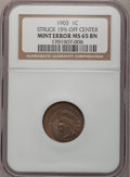Errors, 1903 1C Indian Cent--Struck 15% Off Center--MS65 Brown NGC....