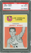 Basketball Cards:Singles (Pre-1970), 1961 Fleer Jerry West Rookie #43 PSA VG-EX 4....