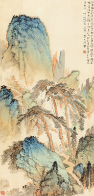 HE TIANJIAN (Chinese, 1891-1977) Landscape Watercolor and ink on silk 33 x 15-3/4 inches (83.8 x
