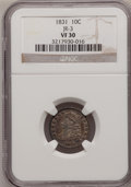 Bust Dimes: , 1831 10C VF30 NGC. JR-3. NGC Census: (5/253). PCGS Population(8/253). Mintage: 771,350. Numismedia Wsl. Price for problem...