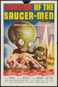 "Movie Posters:Science Fiction, Invasion of the Saucer-Men (American International, 1957). One Sheet (27"" X 41""). Science Fiction.. ..."
