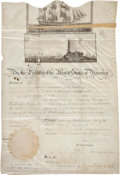 Autographs:U.S. Presidents, James Madison Scalloped-Top Sea Passport Signed as president and countersigned by Secretary of State Robert Smith. One partl...