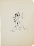 Original Comic Art:Sketches, Frank Frazetta American Indian Girl with a Bow Ink Sketch Original Art (undated)....