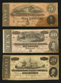 Confederate Notes:Group Lots, Trio of Confederate Notes.. ... (Total: 3 notes)