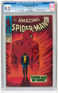 The Amazing Spider-Man #50 (Marvel, 1967) CGC NM- 9.2 White pages