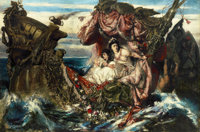 GUSTAV WERTHEIMER (German, 1847-1902) The Shipwreck of Agrippina Oil on canvas 63 x 94-3/4 inches