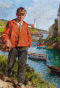 Fine Art - Painting, European:Modern  (1900 1949)  , MARIE AIMEE LUCAS-ROBIQUET (French, 1858-1959). Jeune Pecheur aDoulan. Oil on canvas. 21-5/8 x 14-7/8 inches (55 x 38 c...