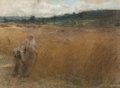 Fine Art - Work on Paper:Drawing, LÉON-AUGUSTIN L'HERMITTE (French, 1844-1925). Landscape withPeasants. Pastel on paper. 10 x 13-1/2 inches (25.4 x 34.3 ...