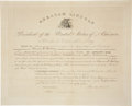 Autographs:U.S. Presidents, Abraham Lincoln Political Appointment Signed as president and countersigned by Treasury Secretary Salmon P. Chase. One p...