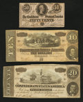 Confederate Notes:Group Lots, Mixed Lot of Confederate Notes. Three Examples.. ... (Total: 3notes)