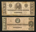 Confederate Notes:Group Lots, T62 $1 1863.. T70 $2 1864.. ... (Total: 2 notes)