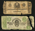 Confederate Notes:Group Lots, CT33/250G $5 1861.. T62 $1 1863.. ... (Total: 2 notes)
