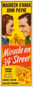 """Movie Posters:Comedy, Miracle on 34th Street (20th Century Fox, 1947). Insert (14"""" X36"""").. ..."""