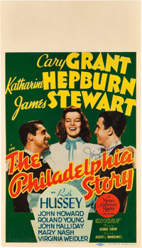 "The Philadelphia Story (MGM, 1940). Autographed Midget Window Card (8"" X 14"")"