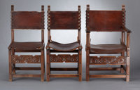 A SET OF NINE VICTORIAN OAK CHAIRS probably England, circa 1890-1900 Unmarked 39-1/2 x 23-3/4 x 22-1/2 inch