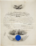 """Autographs:U.S. Presidents, Benjamin Harrison Naval Appointment Signed """"Benj. Harrison"""".One partially-printed vellum page, 15.5"""" x 19.5"""", Washingto..."""