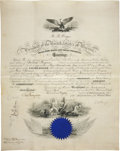 "Autographs:U.S. Presidents, Rutherford B. Hayes Naval Appointment Signed ""R. B. Hayes"".One partially-printed vellum page, 15.5"" x 19.75"", Washi..."