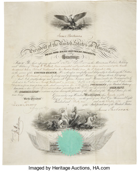 James buchanan marine corps appointment signed lot 34321 onepartially printed vellum autographsus presidents james buchanan marine corps appointment signed onepartially printed vellum thecheapjerseys Image collections