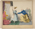 """Antique Stone Lithography, Print: """"Petticoat Ascendancy"""" by """"W. Clerk. Lith. 41 DeanSt. Soho"""". Hand-colored, 14"""" x 11.5"""". Published by..."""