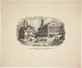 "Antique Stone Lithography, Print: ""View of Faneuil Hall"", 19.75"" x 16"", with full titleof ""View of Faneuil Hall and the Old Feather Hous..."