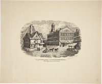 "Print: ""View of Faneuil Hall"", 19.75"" x 16"", with full title of ""View of Faneuil"