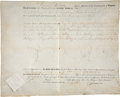 "Autographs:U.S. Presidents, James Monroe Political Appointment Signed ""Jas. Monroe"" asgovernor of Virginia. One vellum page, 15.25"" x 12.5"", Richmo..."