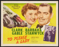 "Movie Posters:Adventure, To Please a Lady (MGM, 1950). Half Sheet (22"" X 28"") Style B.Adventure.. ..."