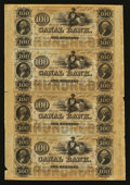 Obsoletes By State:Louisiana, New Orleans, LA- Canal Bank $100-$100-$100-$100 Uncut Sheet. ...
