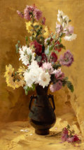 Fine Art - Painting, European:Antique  (Pre 1900), CHARLES THOMAS (French, 1857-1892). Floral Still Life. Oilon canvas. 32 x 18 inches (81.3 x 45.7 cm). Signed lower left...