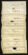 Colonial Notes:Connecticut, Connecticut Interest Certificates with Printed Denominations 10Shillings (4); £1; £2 (2) 1789-91 Anderson CT 51, 52, and 53 V...(Total: 7 notes)
