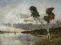 Paintings, KARL HEFFNER (German, 1849-1925). Sunset. Oil on canvas. 28 x 37-1/2 inches (71.1 x 95.3 cm). Signed lower right: K. ...