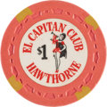 Miscellaneous:Gaming Chips, El Capitan $1 Hawthorne Nevada Casino Chip, First Issue, R-8, Circa1950s. ...