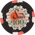 "Miscellaneous:Gaming Chips, Sands $100 Las Vegas Casino Chip, ""A Place in the Sun,"" TenthIssue, R-8, 1962...."