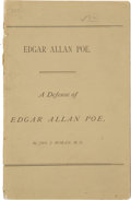 Books:First Editions, John J. Moran. A Defense of Edgar Allan Poe. Life, Character andDying Declarations of the Poet. Washington: Wil...