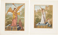 Antiques:Posters & Prints, Pair of 1858 French Chromolithograph Illustrations of Allegorical Scenes.... (Total: 2 Items)