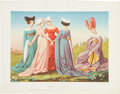 Antiques:Posters & Prints, 1858 French Chromolithograph Illustration of 15th Century Italian Noble Women....