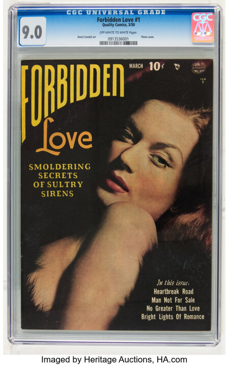 Forbidden Love #1 (Quality, 1950) CGC VF/NM 9.0 Off-white to white pages....