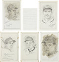 "Baseball Collectibles:Others, Philadelphia Phillies Stars Signed Original Artwork Lot of 5 from""Raitt Collection""...."