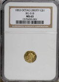 California Fractional Gold: , 1853 $1 Liberty Octagonal 1 Dollar, BG-518, R.5, MS63 NGC. NGCCensus: (1/1). PCGS Population (4/2). (#10495)...