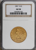 Liberty Eagles: , 1857 $10 AU58 NGC. NGC Census: (25/2). PCGS Population (3/1).Mintage: 16,606. Numismedia Wsl. Price for NGC/PCGS coin in A...
