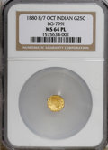 California Fractional Gold, 1880/70 25C BG-799 Prooflike MS64 NGC. (#710635)...