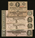 Confederate Notes:Group Lots, 1863 and 1864 Confederate Notes.. ... (Total: 5 notes)