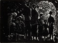 Prints, JOHN BIGGERS (American, 1924-2001). The Family, 2000. Lino-cut. 6 x 8 inches (15.2 x 20.3 cm). Numbered, titled, signed,...
