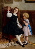 Fine Art - Painting, European:Antique  (Pre 1900), WILLIAM OLIVER (British, 1823-1901). Bubbles, 1869. Oil oncanvas. 34 x 25 inches (86.4 x 63.5 cm). Signed and dated low...