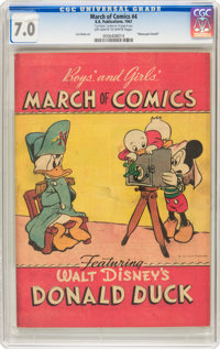 March of Comics #4 Donald Duck (K. K. Publications, Inc., 1947) CGC FN/VF 7.0 Off-white to white pages