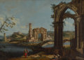 Fine Art - Painting, European:Antique  (Pre 1900), Attributed to GAETANO VETTURALI (Italian, 1700-1799). ItalianScene with Ruins, 1700. Oil on canvas. 27-3/4 x 37-1/2 inc...