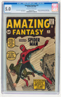 Silver Age (1956-1969):Superhero, Amazing Fantasy #15 (Marvel, 1962) CGC VG/FN 5.0 Off-white to white pages....