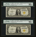 Small Size:World War II Emergency Notes, Fr. 2306 $1 1935A North Africa Silver Certificates. Two Consecutive Examples. PMG Gem Uncirculated 65 EPQ.. ... (Total: 2 notes)