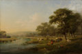 Paintings, ENGLISH SCHOOL (19th Century). Pastoral Scene. Oil on canvas. 24 x 36 inches (61.0 x 91.4 cm). ...