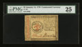 Colonial Notes:Continental Congress Issues, Continental Currency January 14, 1779 $3 PMG Very Fine 25....